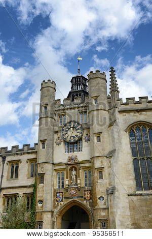 CAMBRIDGE, ENGLAND - MAY 13: Detail of the historical stone Clock Tower, Trinity College, Cambridge University, Cambridge, UK on May 13, 2015