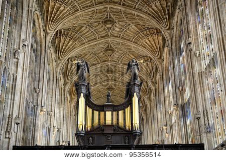 CAMBRIDGE, ENGLAND - MAY 13: Interior of Kings College Chapel, with Worlds Largest Fan Vault Ceiling, Cambridge University, England on May 13, 2015