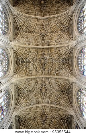 CAMBRIDGE, ENGLAND - MAY 13: Low Angle View of Ceiling in Kings College Chapel, the Worlds Largest Fan Vault, University of Cambridge, England on May 13, 2015