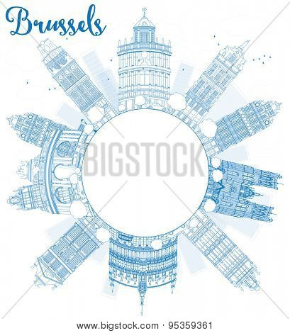 Outline Brussels skyline with blue building and copy space. Vector illustration