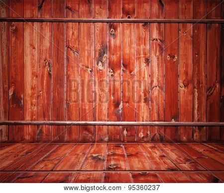 painted old wooden wall. red room, vector