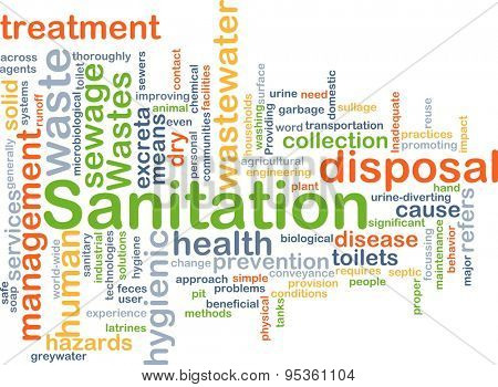 Background concept wordcloud illustration of sanitation