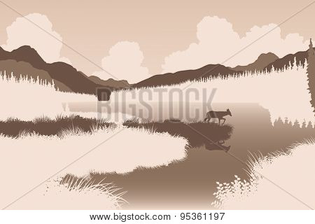 Illustration of a deer in a wild landscape
