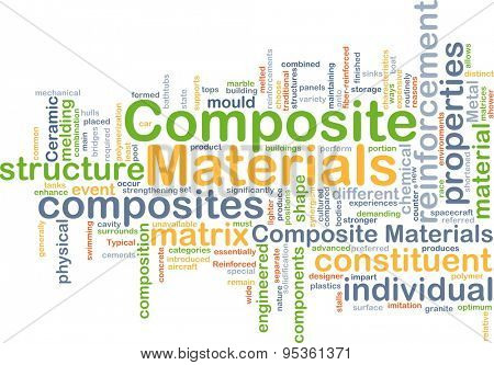 Background concept wordcloud illustration of composite materials
