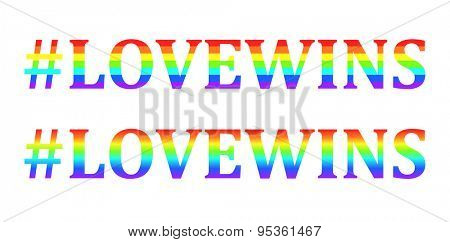 Vector Love wins words in rainbow colors, symbol of gay marriage