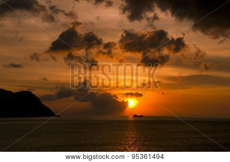 Beautiful sunset in Con dao island