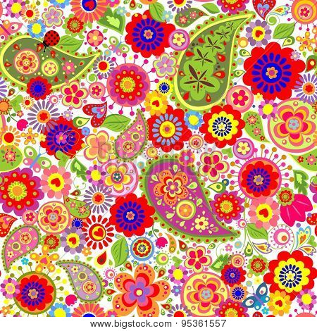 Colorful flowers print with paisley and poppies