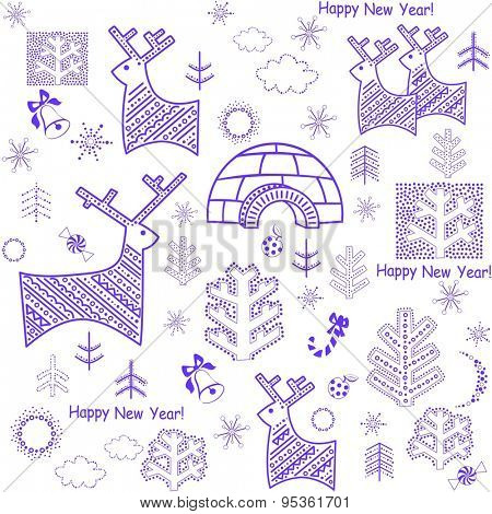 New years wallpaper with reindeers and igloo