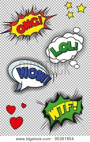 Popart speech bubbles with LOL, OMG, WOW and WTF.