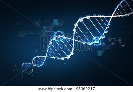 science, chemistry, biology, research and medicine concept - dna molecule chemical structure with hydrogen chemical formula over dark background