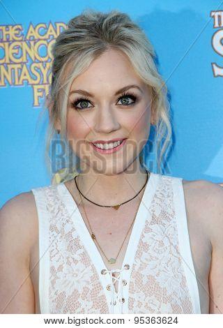 BURBANK - JUNE 25: Emily Kinney arrives at the 41st Annual Saturn Awards on Thursday, June 25, 2015 at the Castaway Restaurant in Burbank, CA.