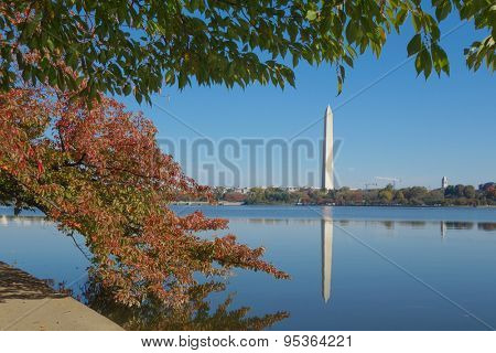 Washington DC in Autumn - Washington Monument as seen from Tidal Basin