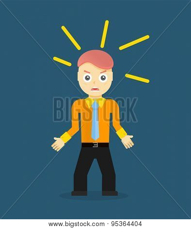 Angry young cartoon businessman or office worker. Flat design.  illustration