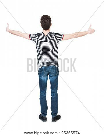Back view of  man in shirt shows thumbs up.   Rear view people collection.  backside view of person.  Isolated over white background.  The guy in the striped shirt is widely spreading his hands.