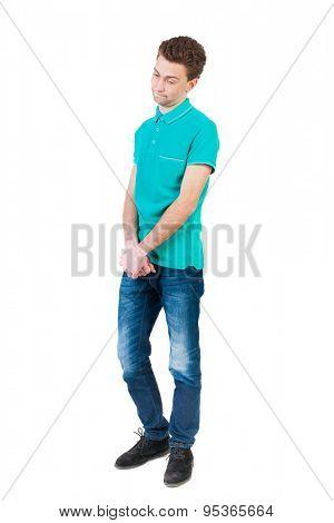 man hesitates. Isolated on white background