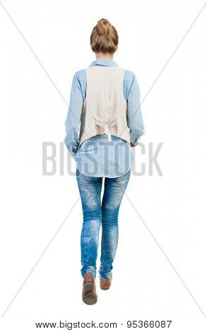 back view of walking  woman. beautiful girl in motion.  backside view of person.  Rear view people collection. Isolated over white background. Girl in sleeveless go forward.