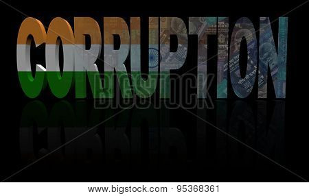 Corruption text with Indian flag and currency illustration