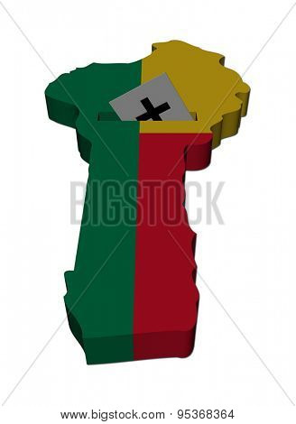 Benin election map with ballot paper illustration
