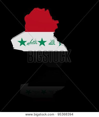 Iraq map flag with reflection illustration