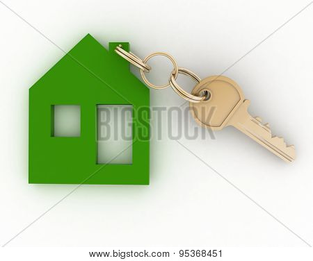 3d model ecological house symbol with key.