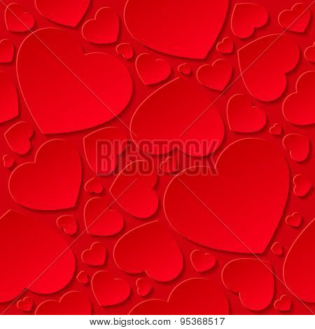 Red hearts on red background - seamless pattern.