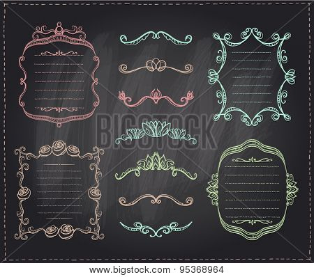 Graphic line dividers, monogram frames and elements set on a chalkboard, eps10