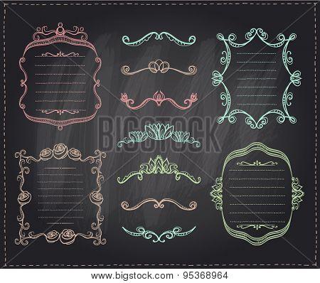 Graphic line dividers, monogram frames and elements set on a chalkboard, eps10