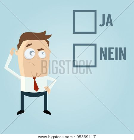 businessman with check boxes in German meaning yes or no