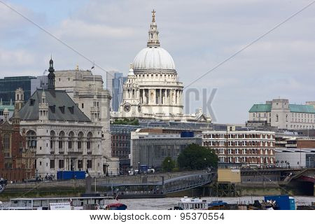 LONDON, UK - JUNE 23: Dome of Saint Paul's cathedral seen from the South Bank. June 23, 2015 in London.