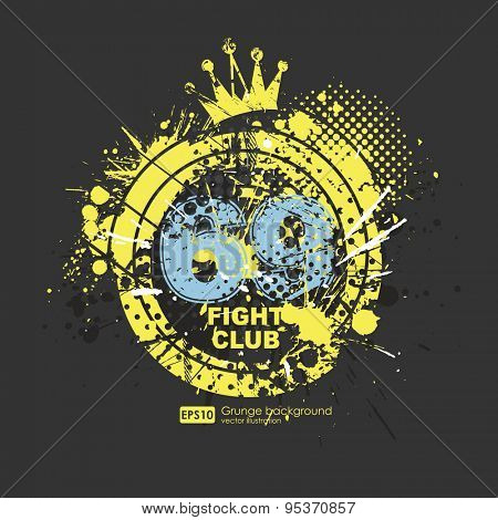 Grunge print lucky number. Print for fabric and clothing. Grunge numbers. Gangster style t-shirt prints. Vector arts.