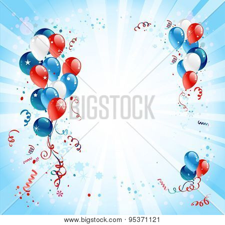 Holiday background with balloons and confetti. Place for advertising, cards, invitation and so on.