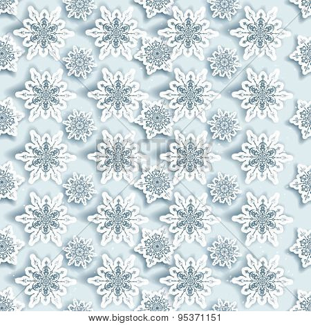 Winter snowflakes seamless background.