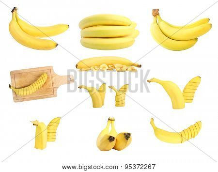 bananas set on white background