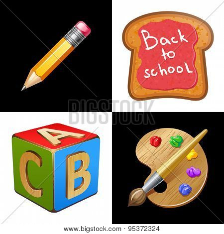 Back to School. School Lunch.Toast with jam. Pencil, palette, wooden cube with letters A,B,C 10eps