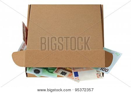 A brown pizza box, partially opened, full of Euro banknotes, isolated on white