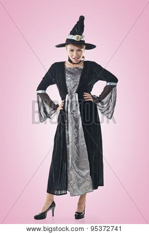 Asian witch woman, full length portrait.