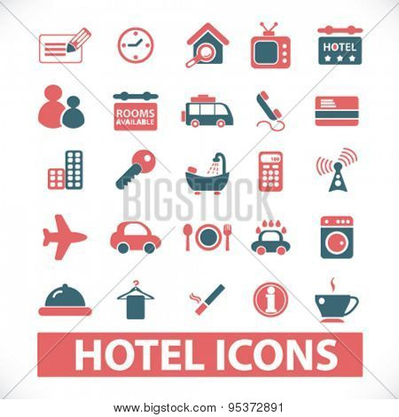 hotel, motel isolated vector icons
