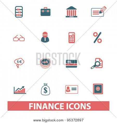 finance, bank isolated vector icons