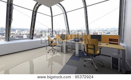 Wrap around modern glass design for an office with curved panoramic windows and workstations for employees, corner perspective. 3d Rendering