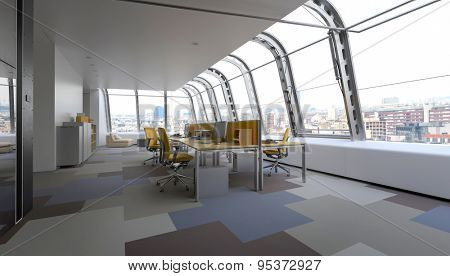 Modern commercial office with curved glass windows in a wrap around design overlooking the CBD of a city furnished with adjacent workstations along a table in a minimalist interior. 3d Rendering
