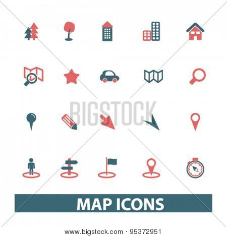 map, route isolated vector icons