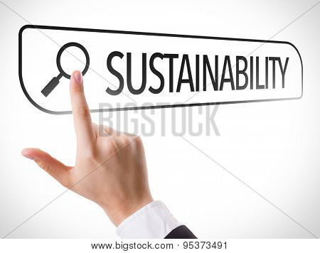 Sustainability written in search bar on virtual screen