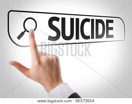 Suicide written in search bar on virtual screen