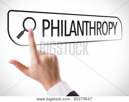Philanthropy written in search bar on virtual screen