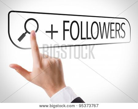 + Followers written in search bar on virtual screen