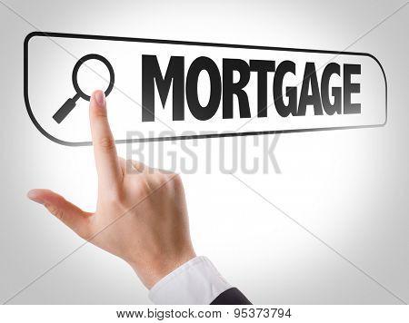 Mortgage written in search bar on virtual screen