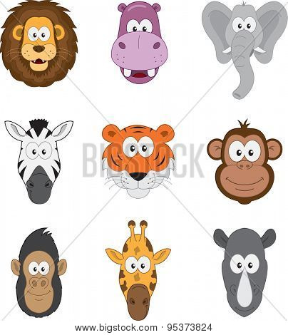 Cartoon jungle savannah and african animals set