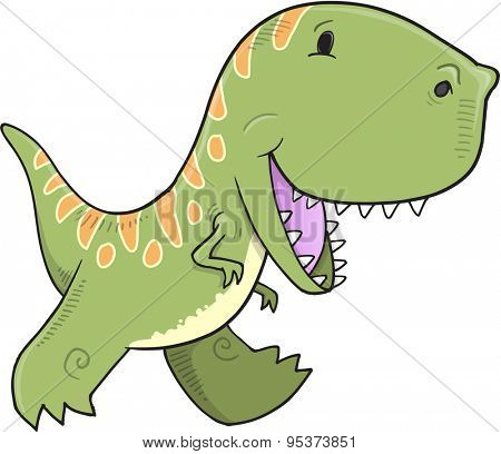 Cute Tyrannosaurus Dinosaur Vector Illustration Art