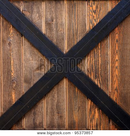 Close up of a cedar wood barn door panel.