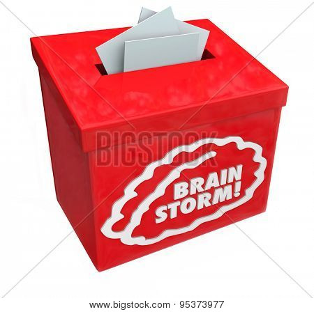 Brainstorm word on a red suggestion, collection or submission box for creative ideas from your team's imagination